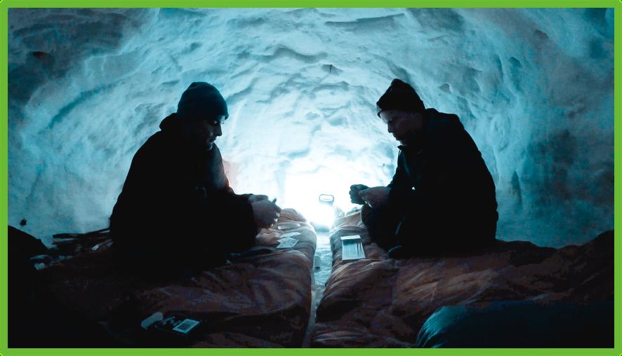 Bedtime in the quinzee - Montana - Epic Trip Adventures