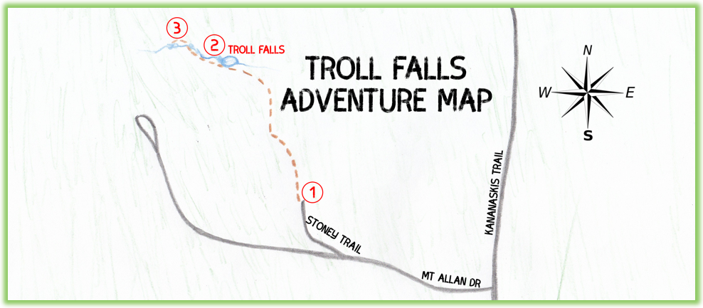 Troll Falls Adventure Map - Kananaskis - Epic Trip Adventures