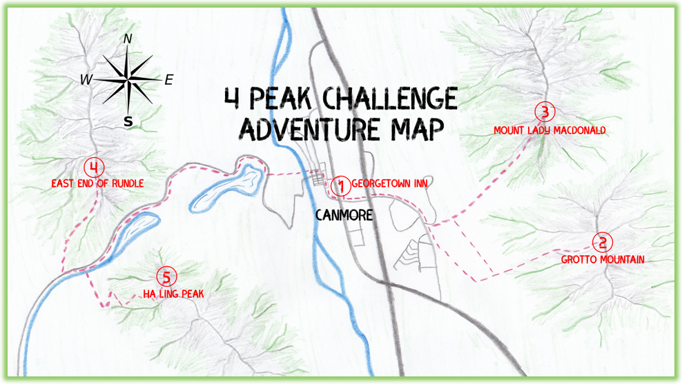 4 Peak Challenge Adventure Map - Canmore - Epic Trip Adventures