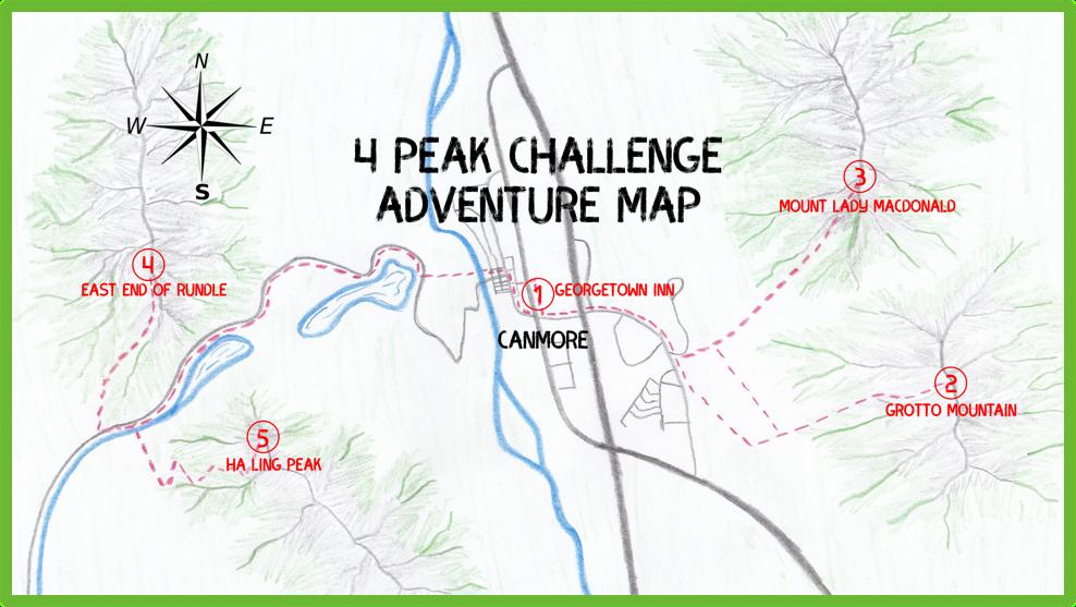4 Peak Challenge Adventure Map - Canmore - Epic Trip Adventures