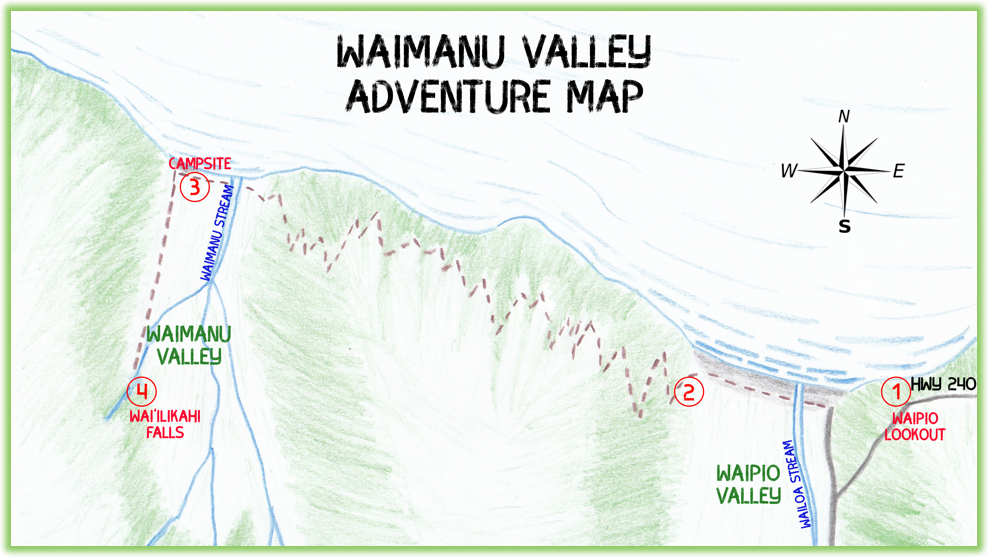 Waimanu Valley Adventure Map - Hawaii Big Island - Epic Trip Adventures