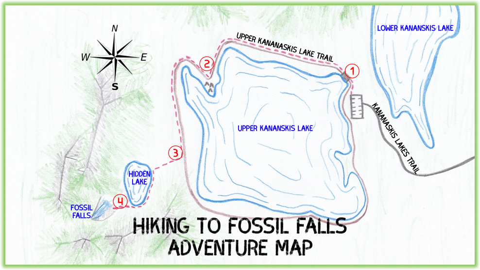 Fossil Falls Adventure Map - Kananaskis - Epic Trip Adventures