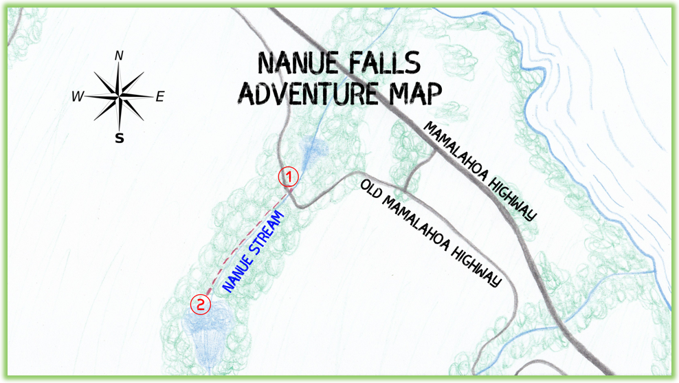 Nanue Falls Adventure Map - Hawaii Big Island - Epic Trip Adventures