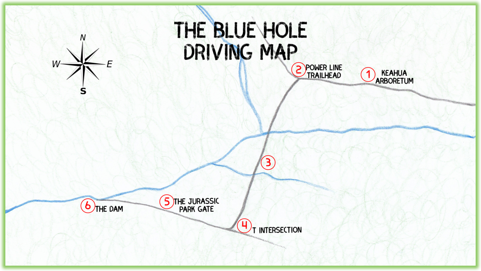 The Blue Hole Driving Map - Kauai - Epic Trip Adventures