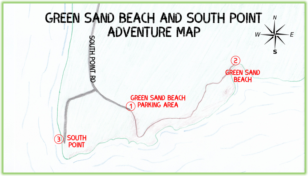 Green Sand Beach And South Point Adventure Map - Hawaii Big Island - Epic Trip Adventures