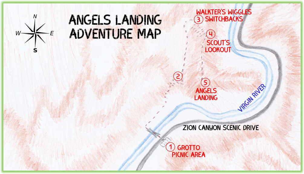 Angels Landing Adventure Map - Zion - Epic Trip Adventures