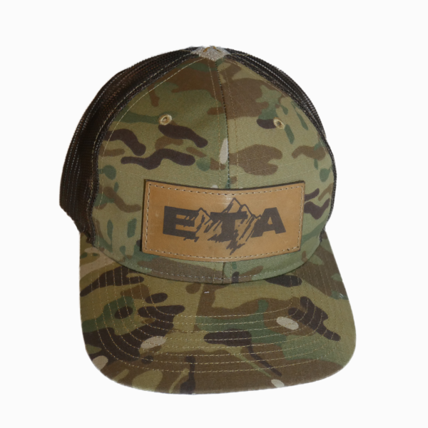 Camo Leather Patch Snapback Hat Front - Epic Trip Adventures