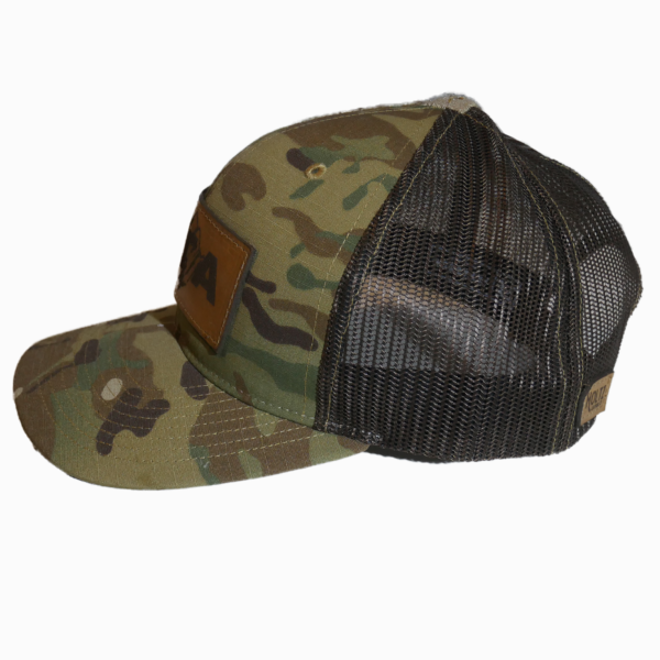 Camo Leather Patch Snapback Hat Side - Epic Trip Adventures
