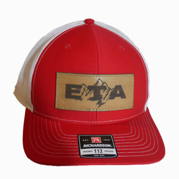 Red Leather Patch Snapback Hat Front - Epic Trip Adventures