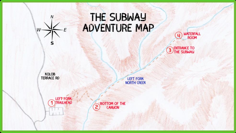 The Subway Adventure Map - Zion - Epic Trip Adventures