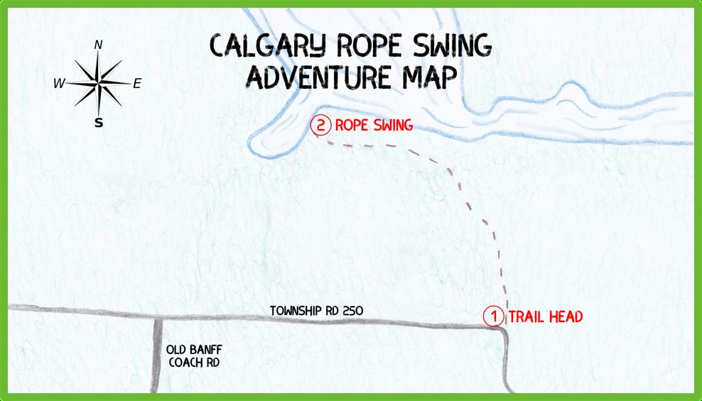 Calgary Rope Swing Adventure Map - Calgary - Epic Trip Adventures